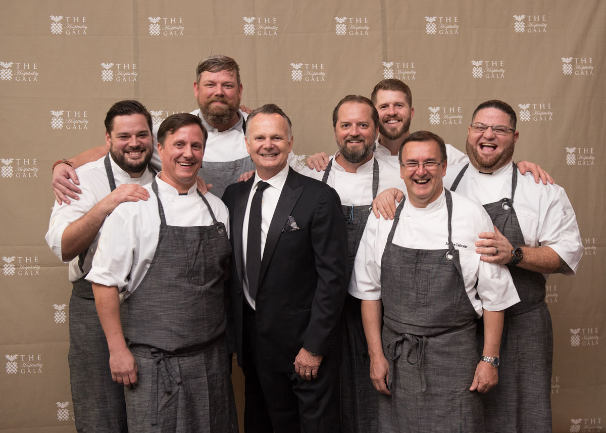 2017 Hospitality Gala Honoree Chef Frank Stitt surrounded by chefs that prepared a dish at the Gala.