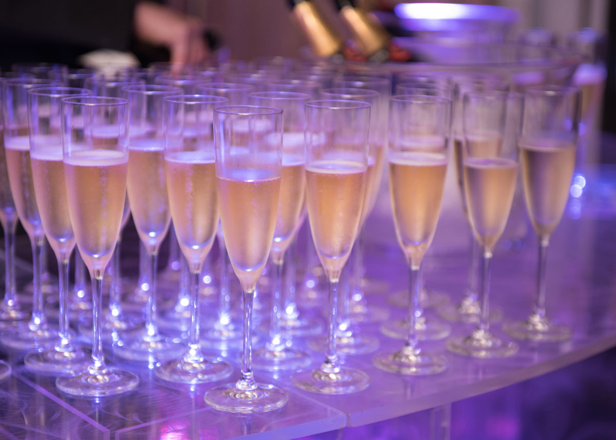 Tray of champagne during the reception at the 2017 Hospitality Gala.