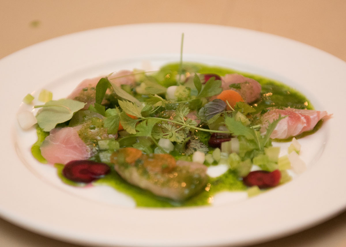 Photo of Thinly Sliced Red Snapper, Cilantro, Razor Clam Vinaigrette at the 2017 Hospitlality Gala.